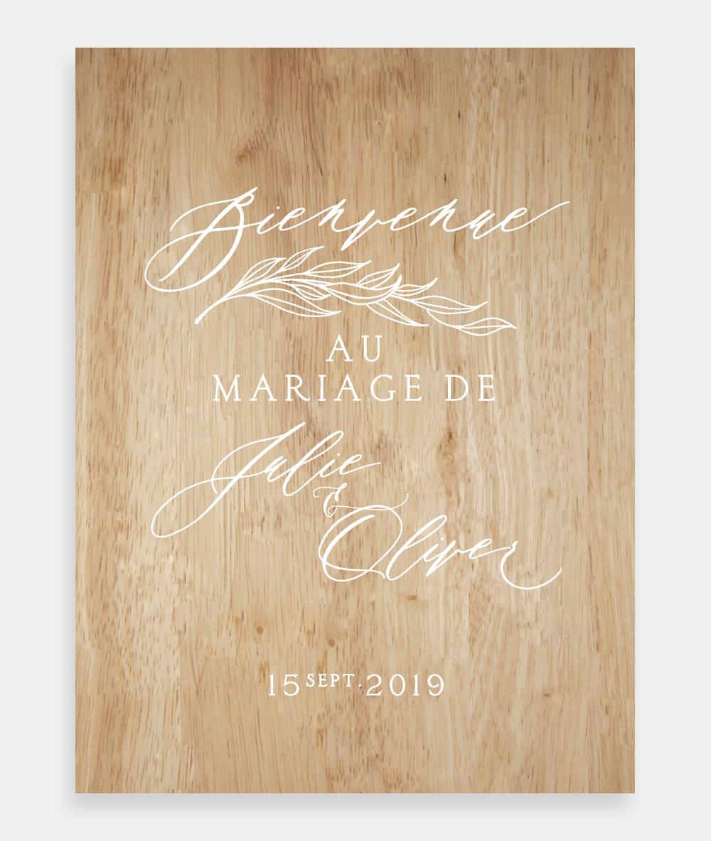panneau de mariage en bois